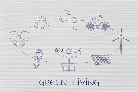 green living: green living: diagram with daily steps to protect the environment by saving energy, recycling and eating local