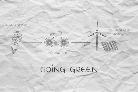earth pollution: going green: illustration with icons about saving energy, preventing pollution and using reneawable energy (lightbulb, bicycle & wind turbine with solar panels)