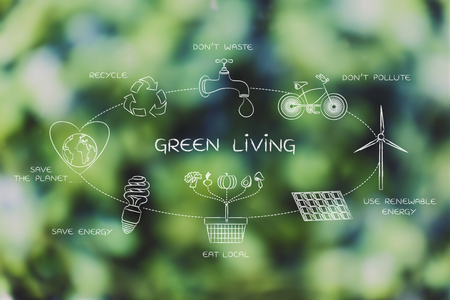 sustainable development: green living: sustainable development diagram with everyday ecology actions