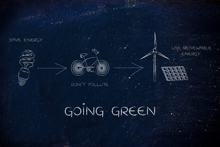 going green: going green: illustration with icons about saving energy, preventing pollution and using reneawable energy (lightbulb, bicycle & wind turbine with solar panels)