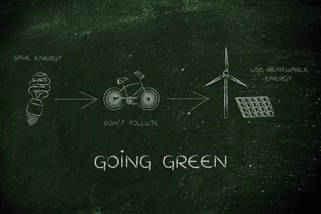 land management: going green: illustration with icons about saving energy, preventing pollution and using reneawable energy (lightbulb, bicycle & wind turbine with solar panels)