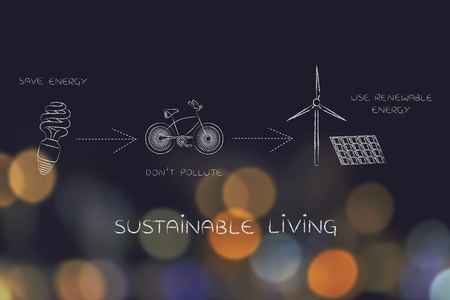 land management: sustainable living: illustration with icons about saving energy, preventing pollution and using reneawable energy (lightbulb, bicycle & wind turbine with solar panels)