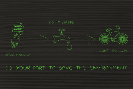 social behaviour: do your part to save the environment: illustration with icons about saving energy & water and preventing pollution (lightbulb, tap & bicycle icons) Stock Photo
