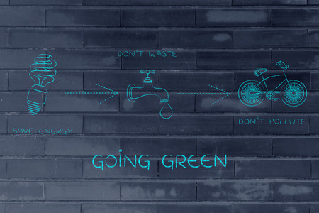 land management: going green: illustration with icons about saving energy & water and preventing pollution (lightbulb, tap & bicycle icons)