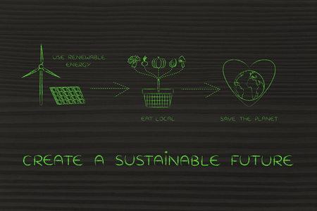 social behaviour: create a sustainable future: illustration with icons about using renewable energy & eating local food to save the planet (solar panel with wind turbine, vegetables cart and Earth with heart)