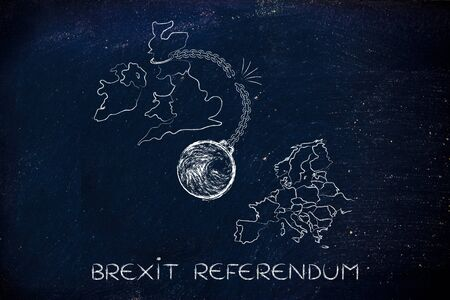voters: Brexit referendum, illustration with broken ball and chain to represent to point of view of the Leave voters Stock Photo