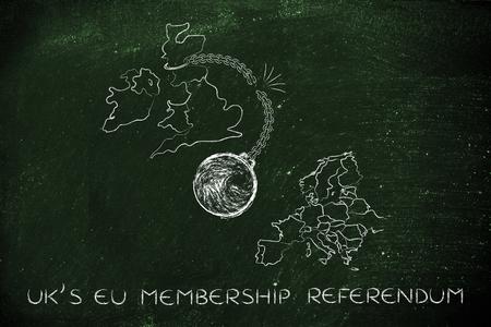 cadena rota: referéndum de adhesión a la UE Reino Unido, la ilustración con la bola y la cadena rota para representar el punto de vista de los votantes Dejar Foto de archivo