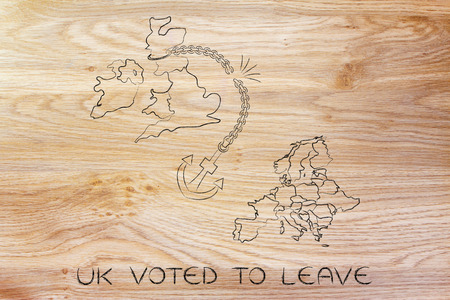voters: UK voted to leave European Union, illustration with broken anchor to represent to point of view of the Remain voters