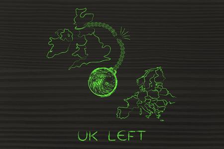 cadena rota: Reino Unido fue, la ilustración con la bola y la cadena rota para representar el punto de vista de los votantes Dejar Foto de archivo