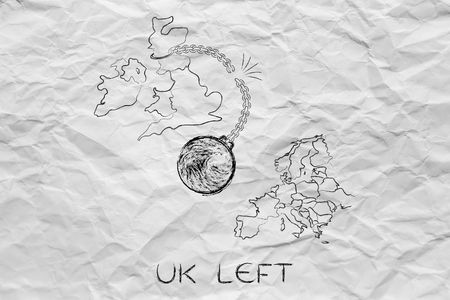world ball: UK left, illustration with broken ball and chain to represent to point of view of the Leave voters