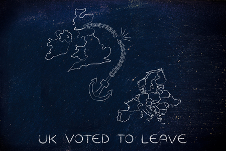 voted: UK voted to leave European Union, illustration with broken anchor to represent to point of view of the Remain voters