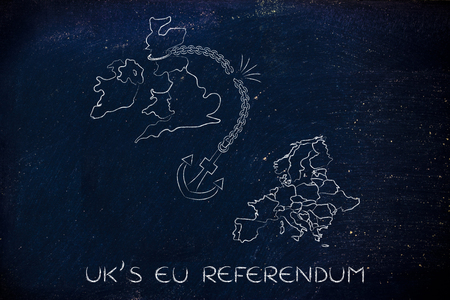 voters: UKs EU referendum, illustration with broken anchor to represent to point of view of the Remain voters Stock Photo