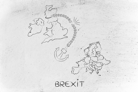 voters: Brexit: United Kingdom leaving the European Union, illustration with broken anchor to represent to point of view of the Remain voters Stock Photo