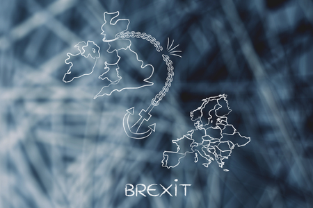remain: Brexit: United Kingdom leaving the European Union, illustration with broken anchor to represent to point of view of the Remain voters Stock Photo