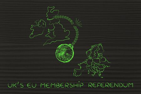 voters: UKs EU membership referendum, illustration with broken ball and chain to represent to point of view of the Leave voters