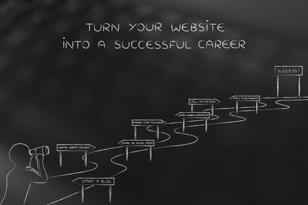 turn about: turn your website into a successful career: man with binoculars looking at path with direction signs about how to have more followers and get famous Stock Photo