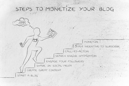 monetize: steps to monetize your blog: man running on stairs with captions about online product promotion Stock Photo