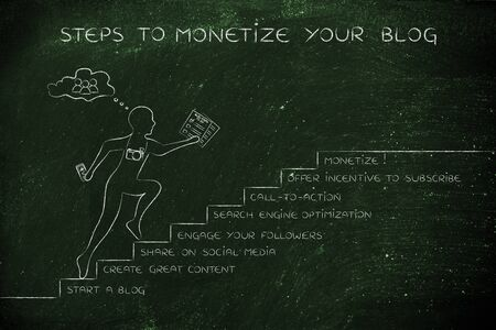 freebie: steps to monetize your blog: man running on stairs with captions about online product promotion Stock Photo