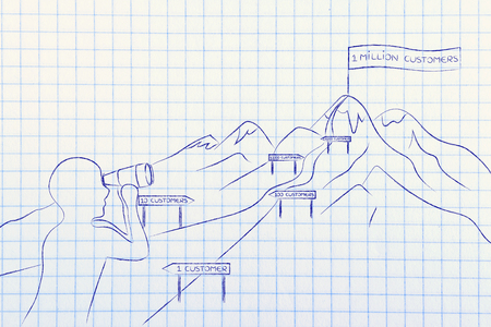 obtain: man with binoculars looking at mountain path with milespoint about number of customer to obtain for a business