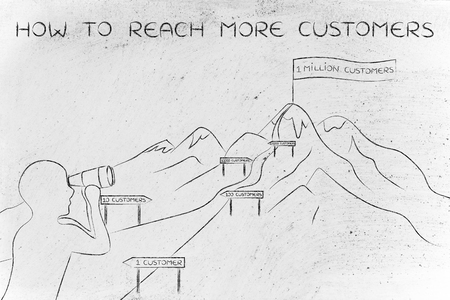 reach customers: how to reach more customers: man with binoculars looking at mountain path with milespoint about number of clients to obtain for a business