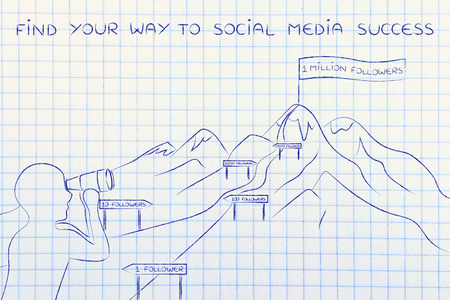 find your way: find your way to social media success: man with binoculars looking at mountain path with milespoint about number of subscribers for a website Stock Photo
