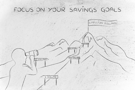 direction sign: focus on your savings goals: man with binoculars looking at mountain path with milespoint about number of dollar saved