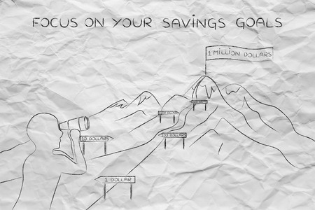 savings goals: focus on your savings goals: man with binoculars looking at mountain path with milespoint about number of dollar saved
