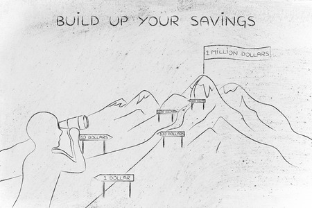 build up: build up your savings: man with binoculars looking at mountain path with milespoint about number of dollar saved