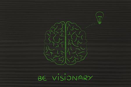 inventiveness: be visionary: human brain producing an idea (lightbulb symbol), concept of brainstorming