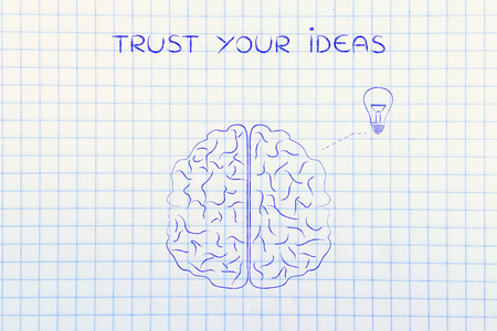 inventiveness: trust your ideas: human brain with lightbulb symbol, concept of brainstorming Stock Photo