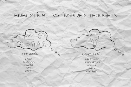 analytical: analytical vs inspired: thought bubbles with different style of thinking, data and stats in one creative idea in the other