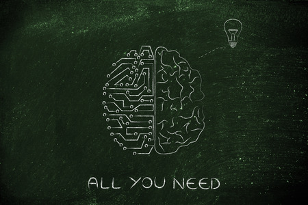inventiveness: human and artificial brain producing an idea (lightbulb symbol), with caption text All you need