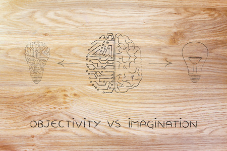 objectivity: objectivity vs imagination: human and artificial brain producing different types of ideas (lightbulb symbol and circuit version)