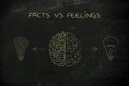 facts vs feelings: human and artificial brain producing different types of ideas (lightbulb symbol and circuit version) Banco de Imagens