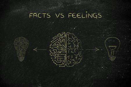 Faits vs sentiments: cerveau produisant différents types humains et artificiels d'idées (symbole lightbulb et version de circuit) Banque d'images - 59626894