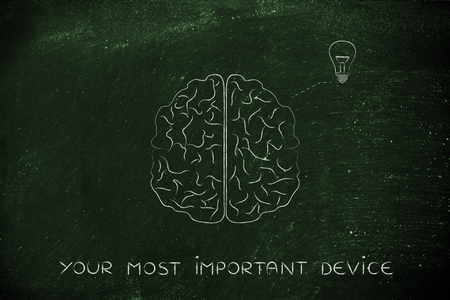 inventiveness: your most important device: human brain producing an idea (lightbulb symbol), concept of brainstorming