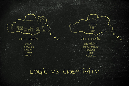 objectivity: logic vs creativity: thought bubbles with different style of thinking, data and stats in one intuitive idea in the other
