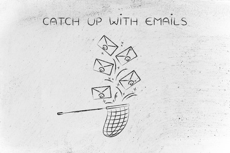 catch up: catch up with emails: net trying to get all the falling enveloes, metaphor of inbox management