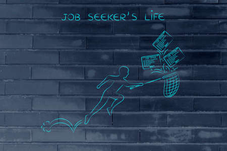 seekers: job seekers life: man with net trying to handle all the falling job offers Stock Photo