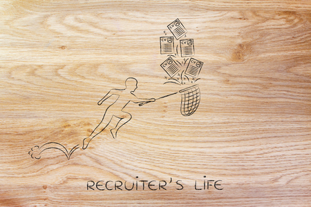recruiters: recruiters life: man with net trying to handle all the falling curriculum vitae