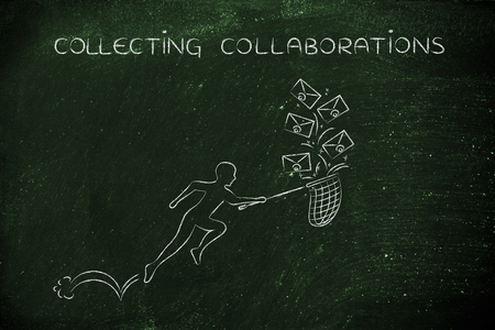 collaborations: collecting collaborations: man with net trying to get all the falling emails, metaphor of inbox management