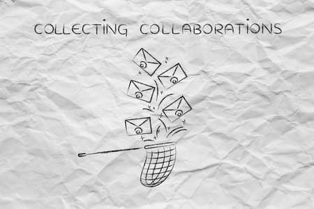 collaborations: collecting collaborations: net trying to get all the falling emails, metaphor of inbox management