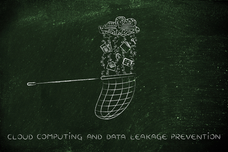 leakage: cloud computing and data leakage prevention, net collecting files falling from a cloud made of circuits