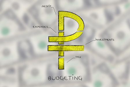 profiting: russian ruble currency symbol split into 4 parts with captions investment, profit, expenses and tax Stock Photo