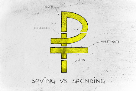 Saving Investing Money Russian Ruble Currency Symbol Split