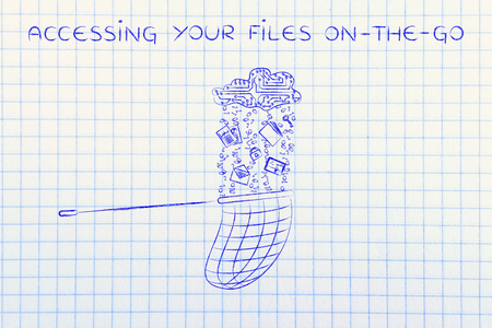 accessing: accessing your files on-the-go: net collecting data falling or leaking from a cloud made of circuits Stock Photo