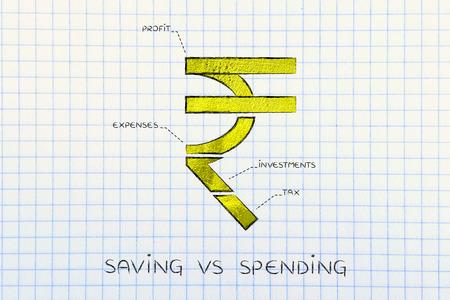 Saving Vs Spending Indian Rupee Currency Symbol Split Into 4