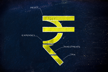 Indian Rupee Currency Symbol Split Into 4 Parts With Captions