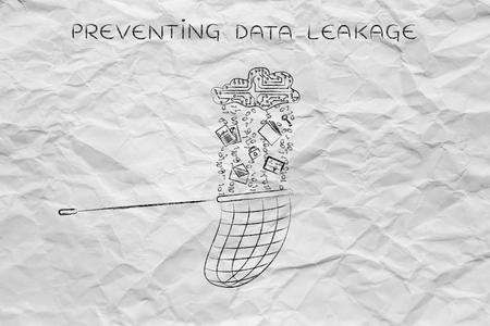 leakage: preventing data leakage: net collecting files falling from a cloud made of circuits