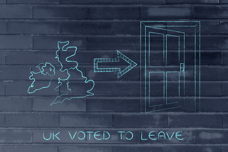 voted: UK voted to leave, Great Britain next to an arrow indicating an open door to exit the EU